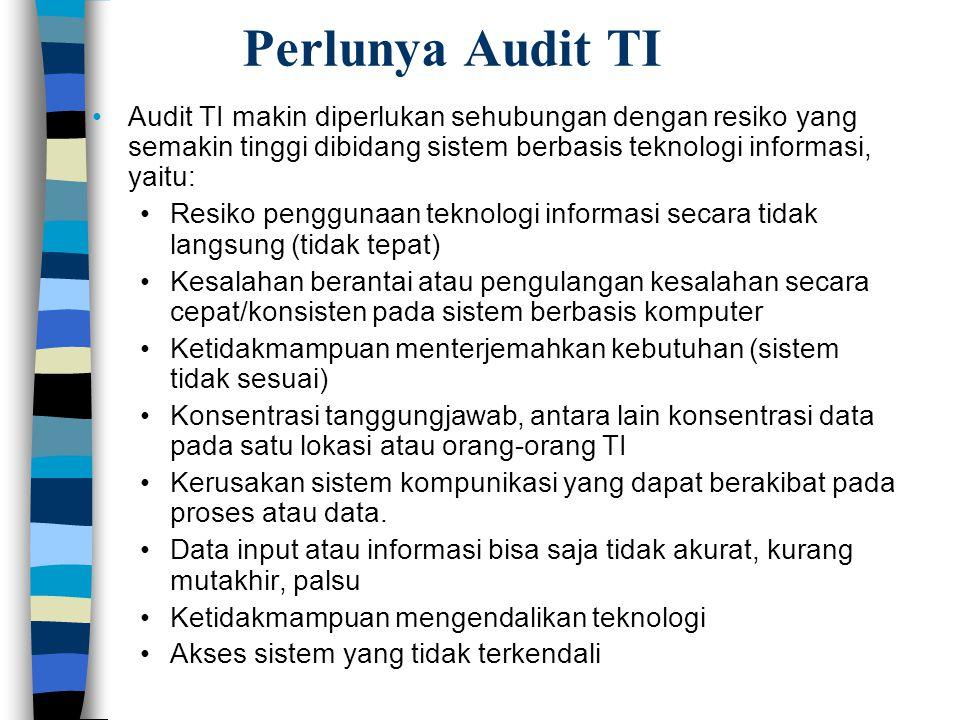 Perlunya Audit TI Audit TI makin diperlukan sehubungan dengan resiko yang semakin tinggi dibidang sistem berbasis teknologi informasi, yaitu: