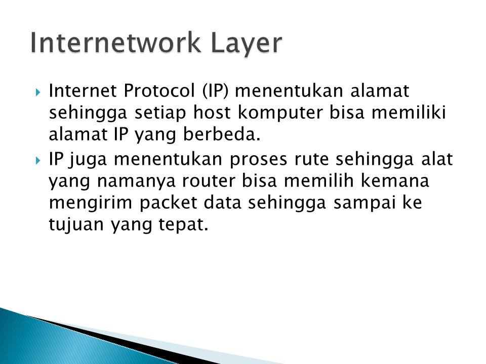 Internetwork Layer Internet Protocol (IP) menentukan alamat sehingga setiap host komputer bisa memiliki alamat IP yang berbeda.