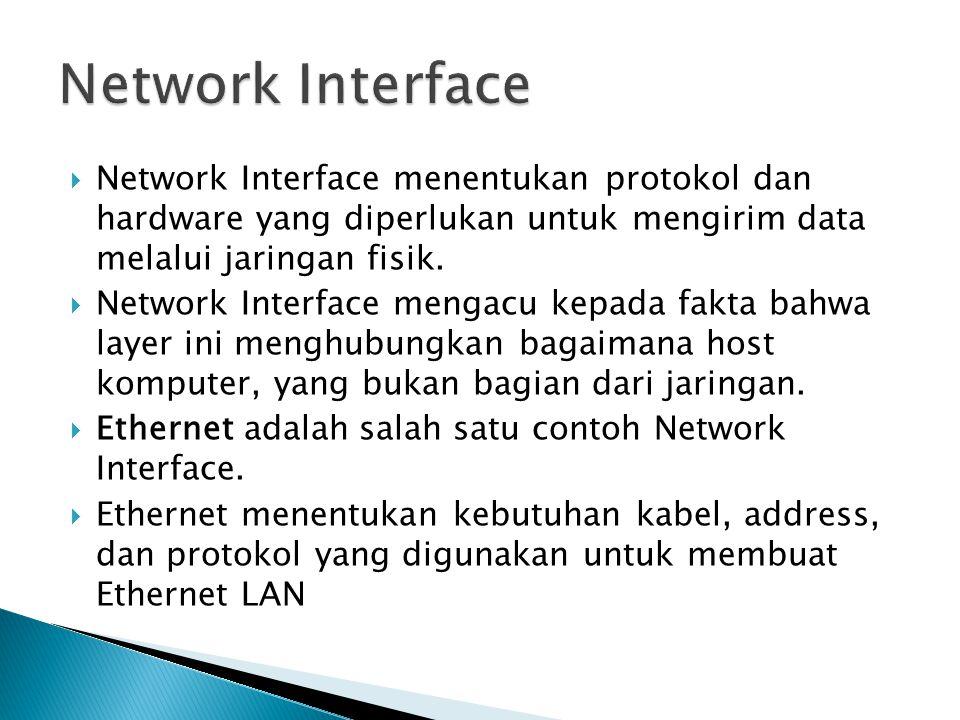 Network Interface Network Interface menentukan protokol dan hardware yang diperlukan untuk mengirim data melalui jaringan fisik.