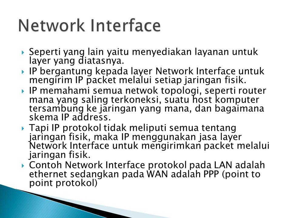 Network Interface Seperti yang lain yaitu menyediakan layanan untuk layer yang diatasnya.