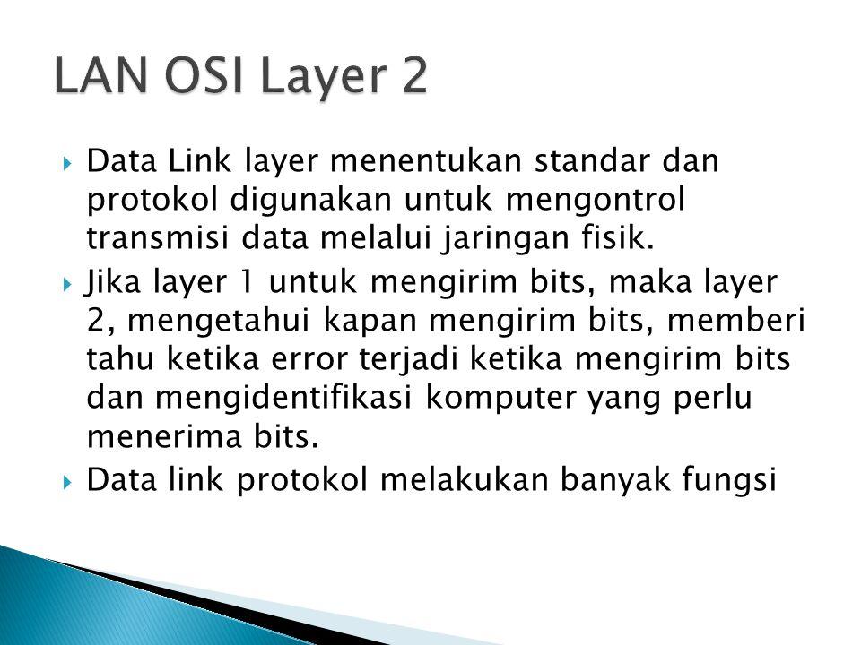 LAN OSI Layer 2 Data Link layer menentukan standar dan protokol digunakan untuk mengontrol transmisi data melalui jaringan fisik.