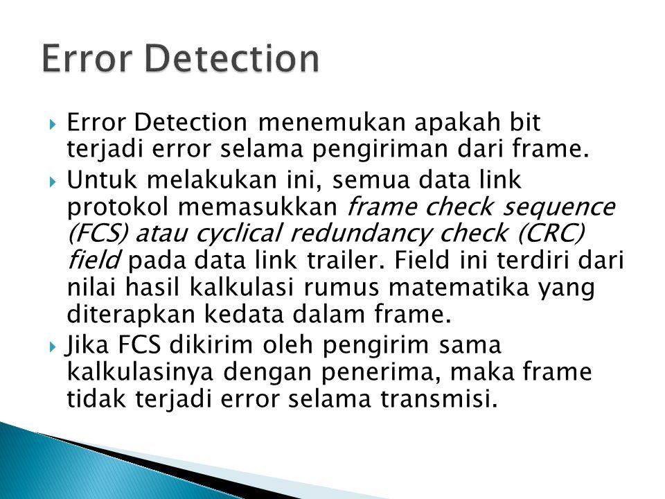 Error Detection Error Detection menemukan apakah bit terjadi error selama pengiriman dari frame.