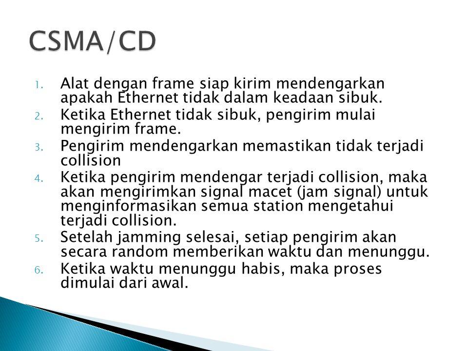 CSMA/CD Alat dengan frame siap kirim mendengarkan apakah Ethernet tidak dalam keadaan sibuk.