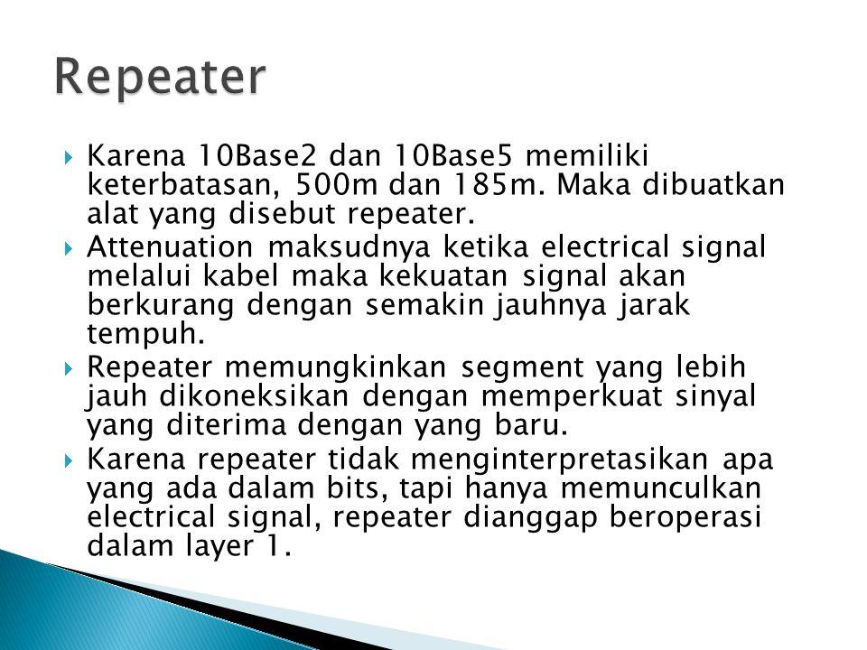 Repeater Karena 10Base2 dan 10Base5 memiliki keterbatasan, 500m dan 185m. Maka dibuatkan alat yang disebut repeater.
