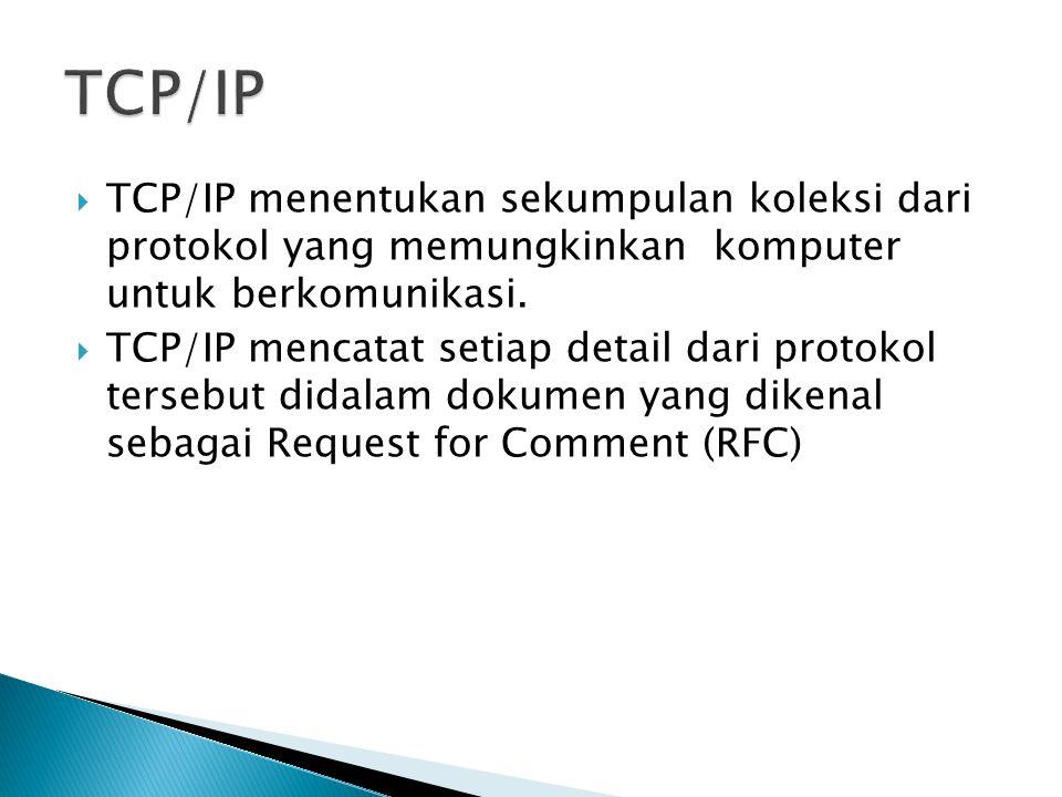 TCP/IP TCP/IP menentukan sekumpulan koleksi dari protokol yang memungkinkan komputer untuk berkomunikasi.