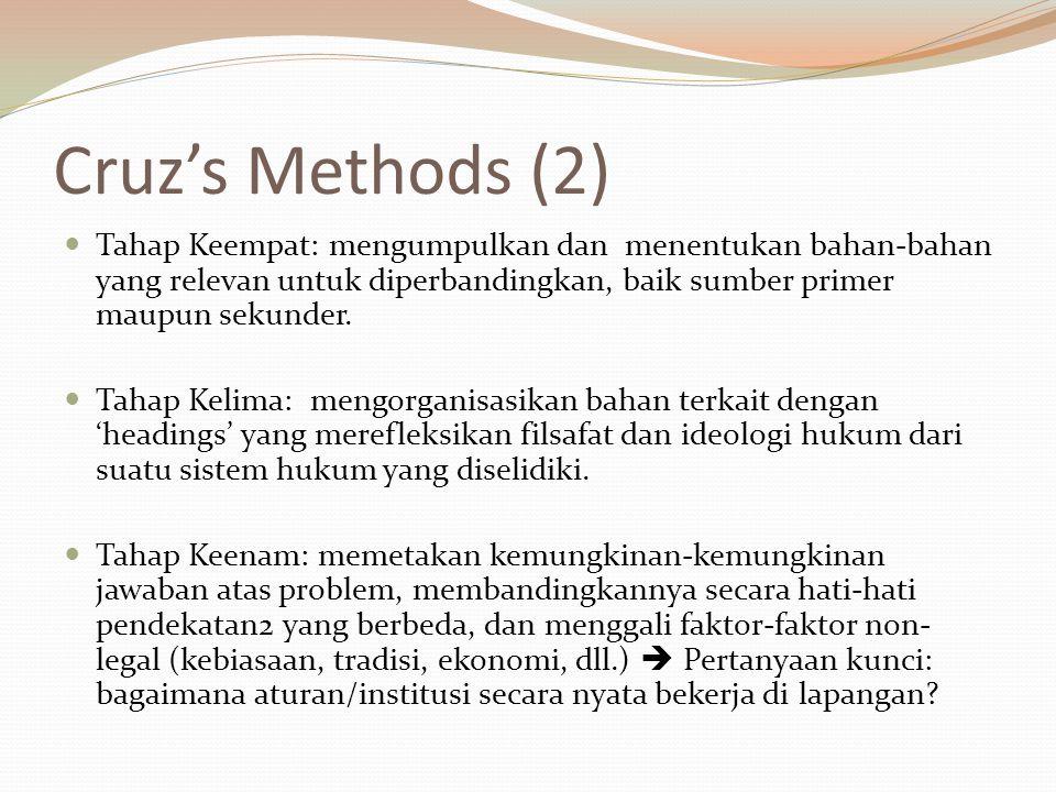 Cruz's Methods (2) Tahap Keempat: mengumpulkan dan menentukan bahan-bahan yang relevan untuk diperbandingkan, baik sumber primer maupun sekunder.