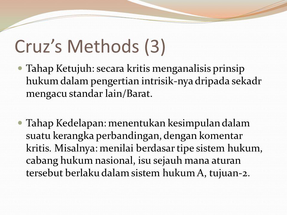Cruz's Methods (3) Tahap Ketujuh: secara kritis menganalisis prinsip hukum dalam pengertian intrisik-nya dripada sekadr mengacu standar lain/Barat.