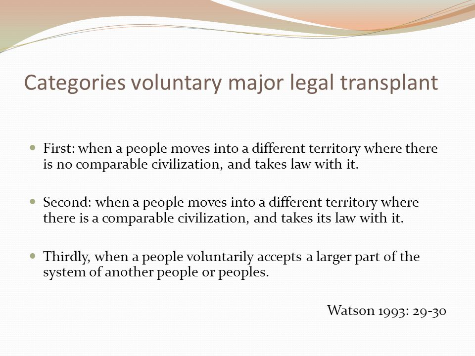 Categories voluntary major legal transplant