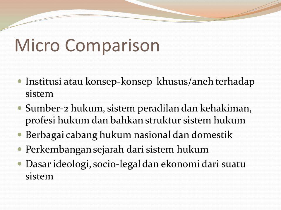 Micro Comparison Institusi atau konsep-konsep khusus/aneh terhadap sistem.