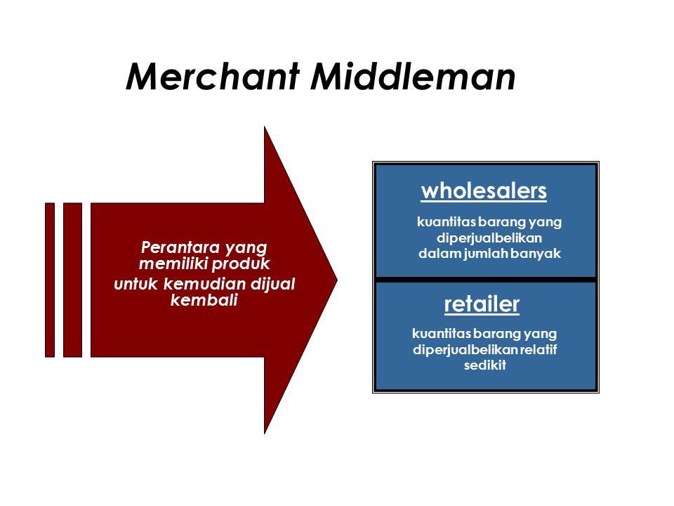 Merchant Middleman wholesalers retailer Perantara yang memiliki produk