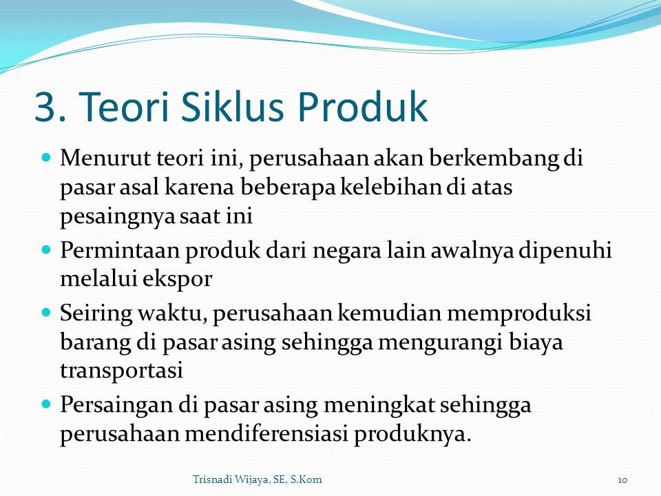 3. Teori Siklus Produk Menurut teori ini, perusahaan akan berkembang di pasar asal karena beberapa kelebihan di atas pesaingnya saat ini.