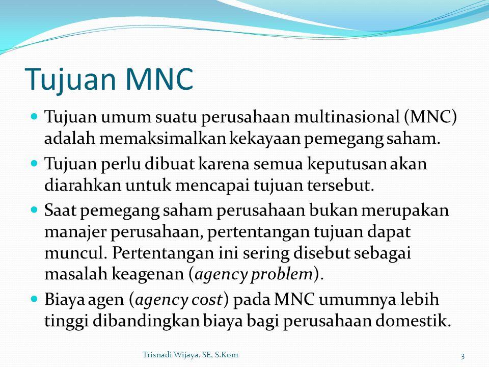 Tujuan MNC Tujuan umum suatu perusahaan multinasional (MNC) adalah memaksimalkan kekayaan pemegang saham.