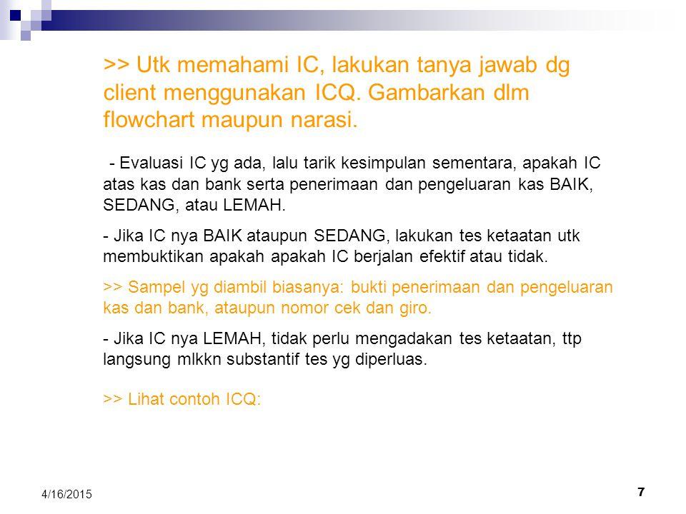 >> Utk memahami IC, lakukan tanya jawab dg client menggunakan ICQ. Gambarkan dlm flowchart maupun narasi.
