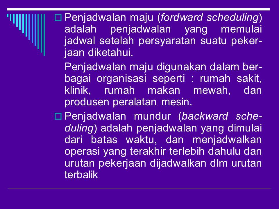 Penjadwalan maju (fordward scheduling) adalah penjadwalan yang memulai jadwal setelah persyaratan suatu peker-jaan diketahui.