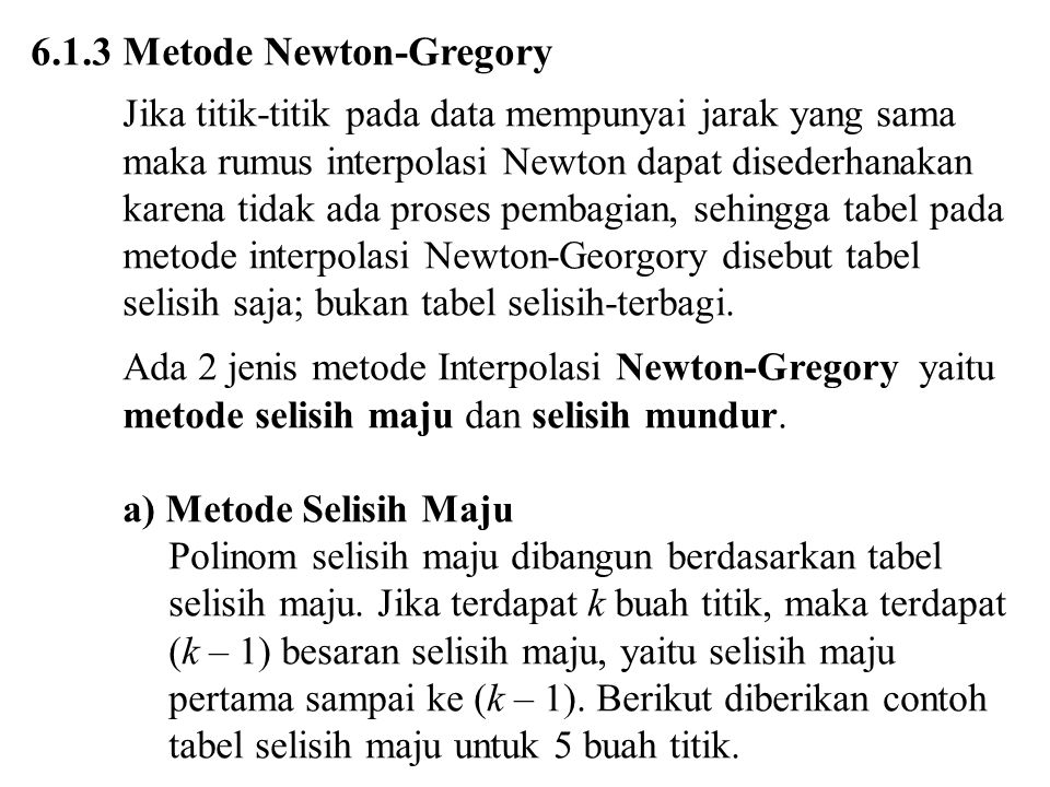 6.1.3 Metode Newton-Gregory