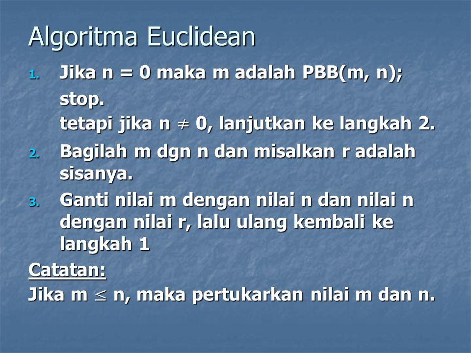 Algoritma Euclidean Jika n = 0 maka m adalah PBB(m, n); stop.