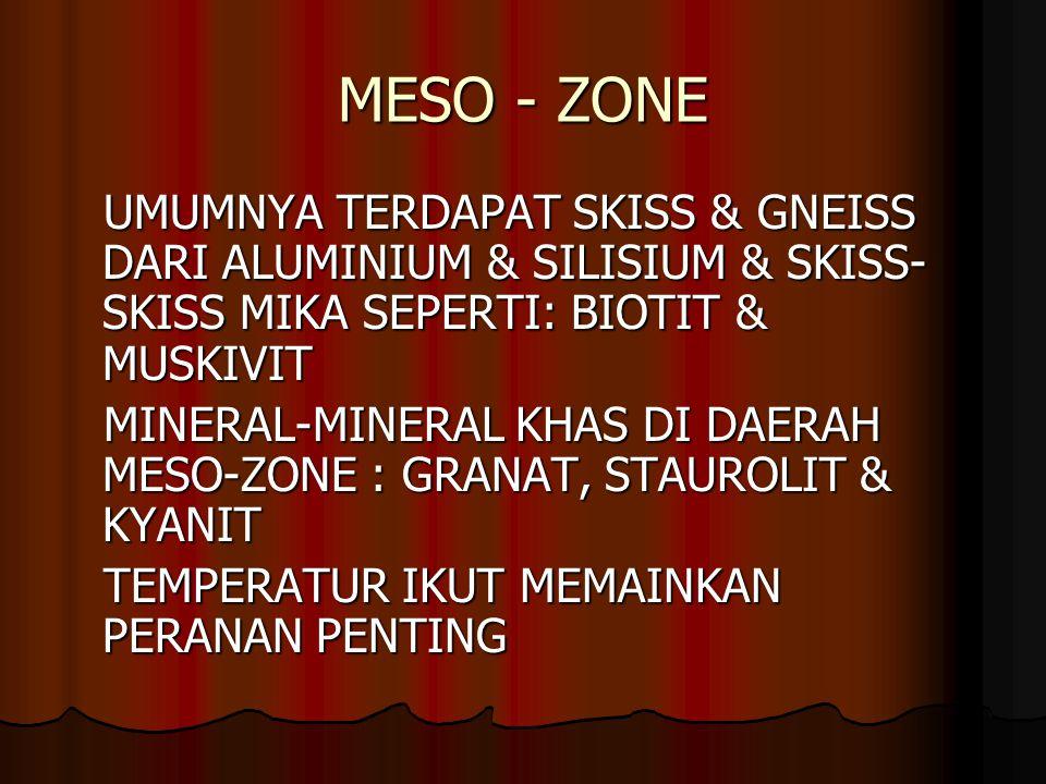 MESO - ZONE UMUMNYA TERDAPAT SKISS & GNEISS DARI ALUMINIUM & SILISIUM & SKISS-SKISS MIKA SEPERTI: BIOTIT & MUSKIVIT.