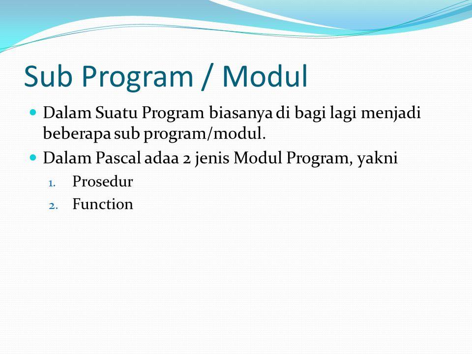 Sub Program / Modul Dalam Suatu Program biasanya di bagi lagi menjadi beberapa sub program/modul. Dalam Pascal adaa 2 jenis Modul Program, yakni.