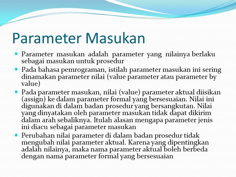 Parameter Masukan Parameter masukan adalah parameter yang nilainya berlaku sebagai masukan untuk prosedur.
