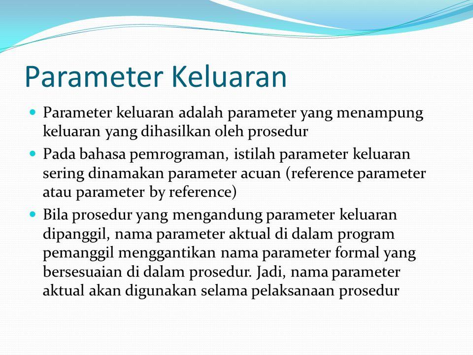Parameter Keluaran Parameter keluaran adalah parameter yang menampung keluaran yang dihasilkan oleh prosedur.