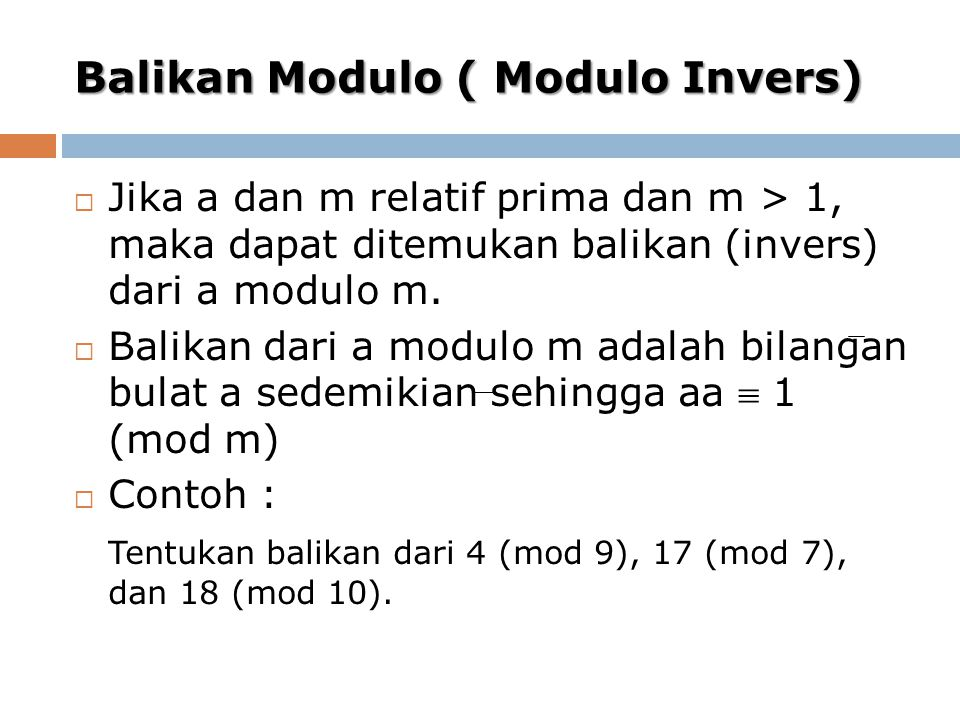 Balikan Modulo ( Modulo Invers)