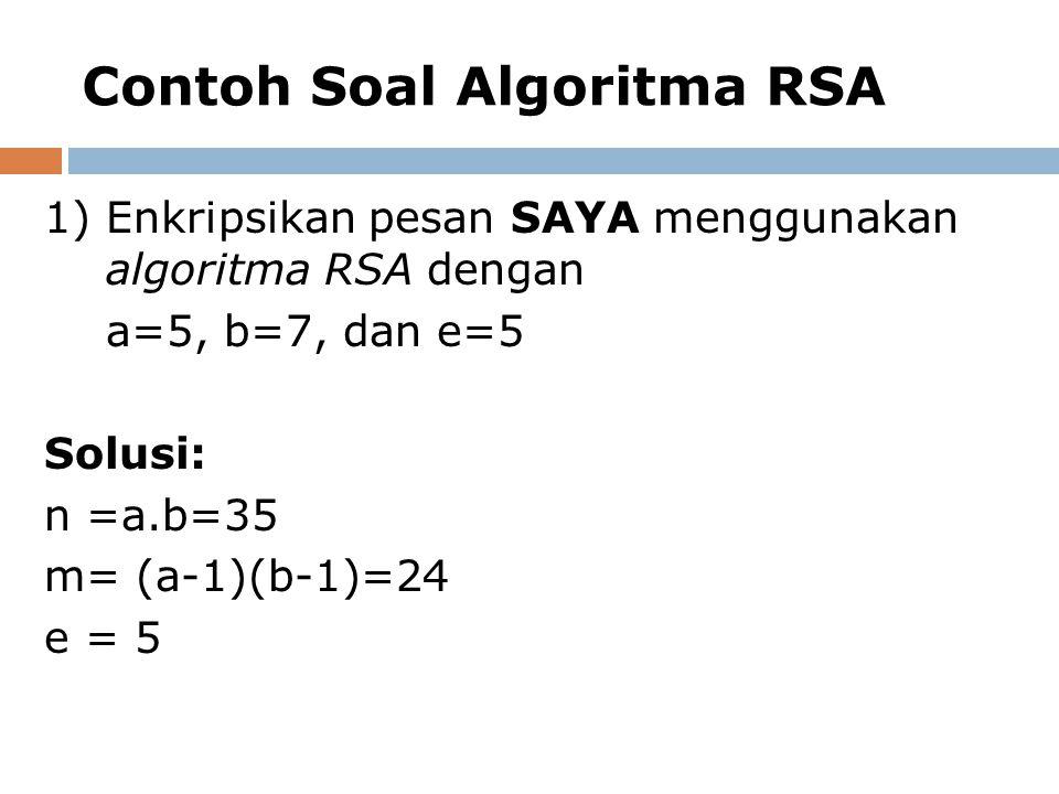 Contoh Soal Algoritma RSA