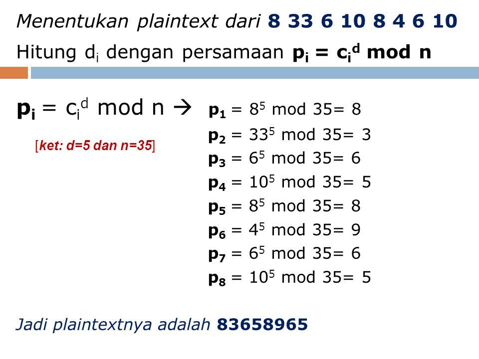 Menentukan plaintext dari 8 33 6 10 8 4 6 10