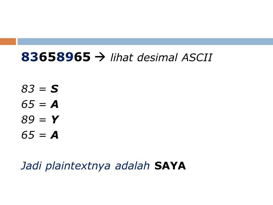 83658965  lihat desimal ASCII 83 = S 65 = A 89 = Y