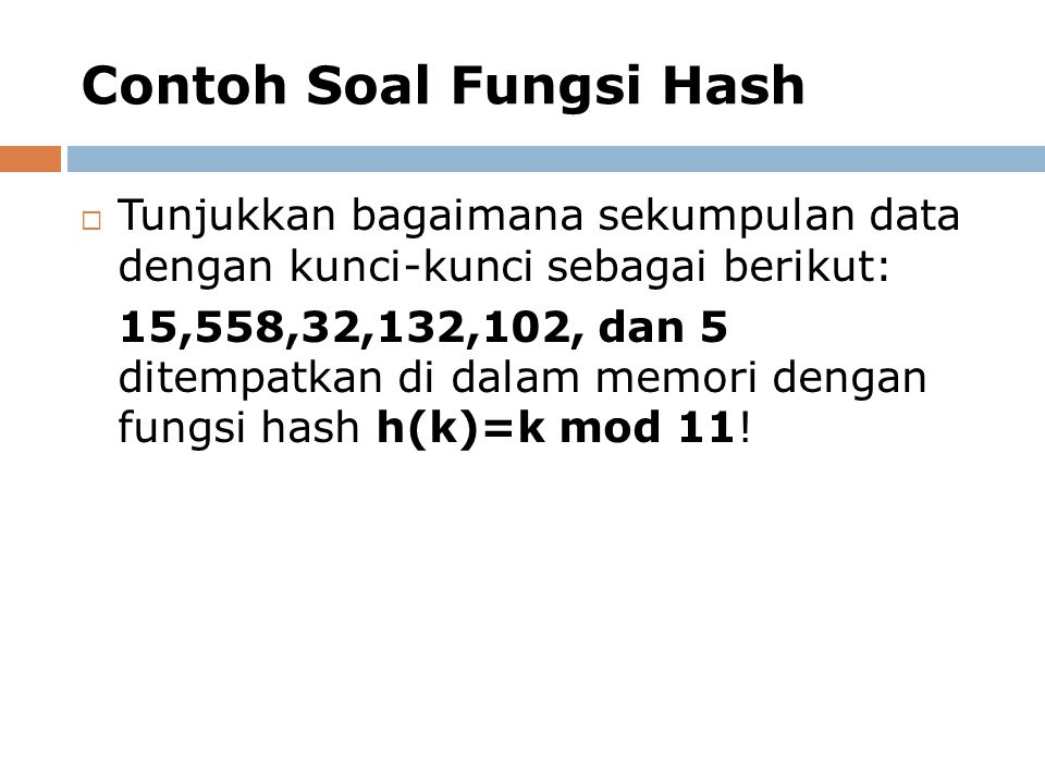 Contoh Soal Fungsi Hash