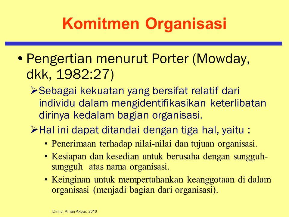 Komitmen Organisasi Pengertian menurut Porter (Mowday, dkk, 1982:27)