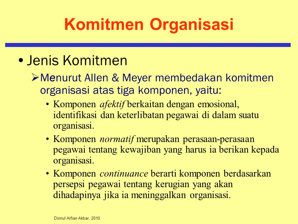 Komitmen Organisasi Jenis Komitmen