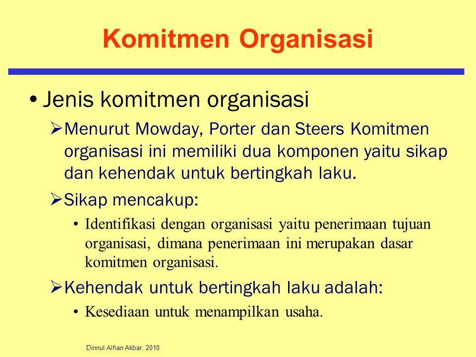 Komitmen Organisasi Jenis komitmen organisasi