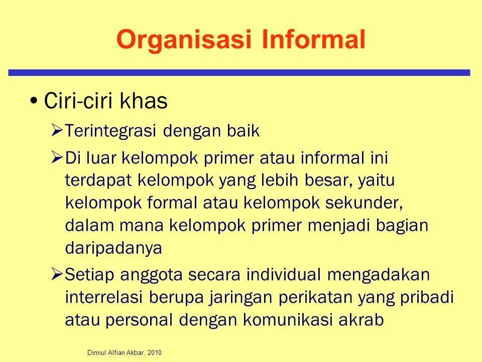 Organisasi Informal Ciri-ciri khas Terintegrasi dengan baik