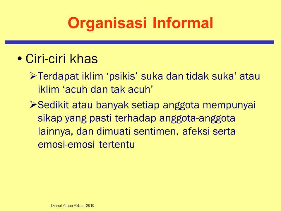 Organisasi Informal Ciri-ciri khas