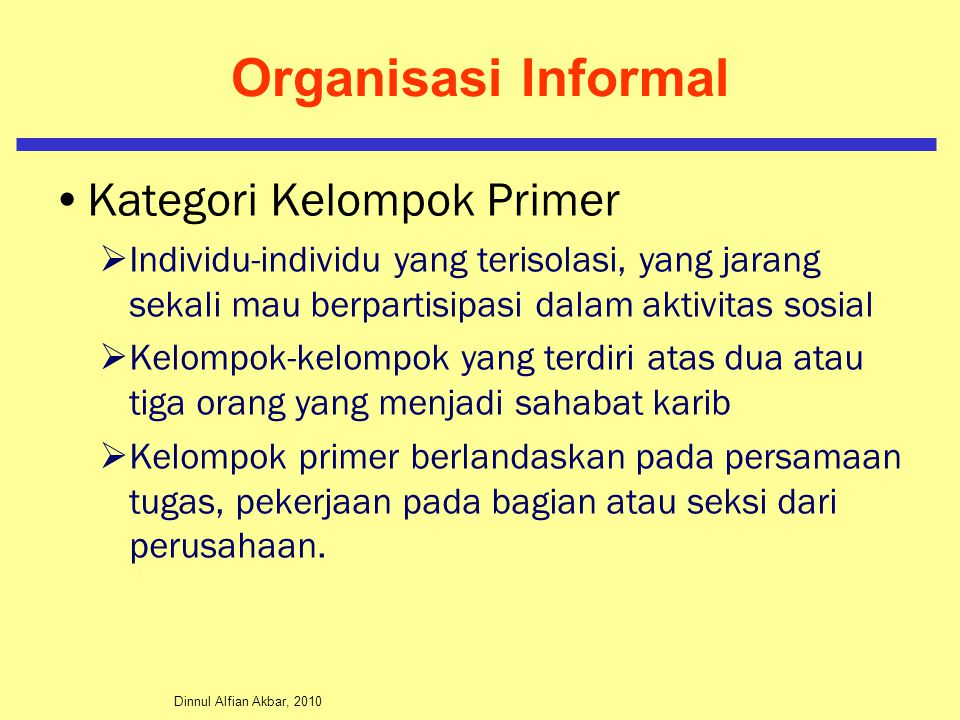 Organisasi Informal Kategori Kelompok Primer