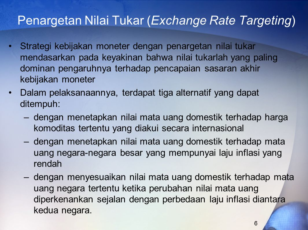 Penargetan Nilai Tukar (Exchange Rate Targeting)