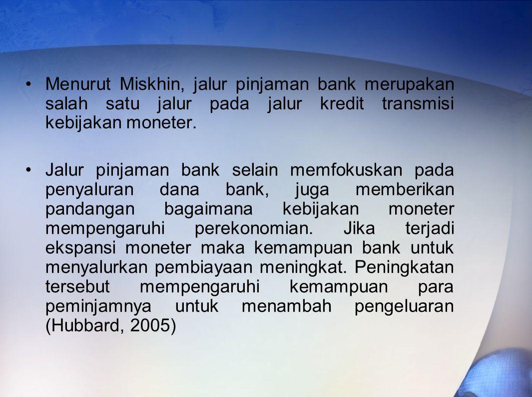 Menurut Miskhin, jalur pinjaman bank merupakan salah satu jalur pada jalur kredit transmisi kebijakan moneter.