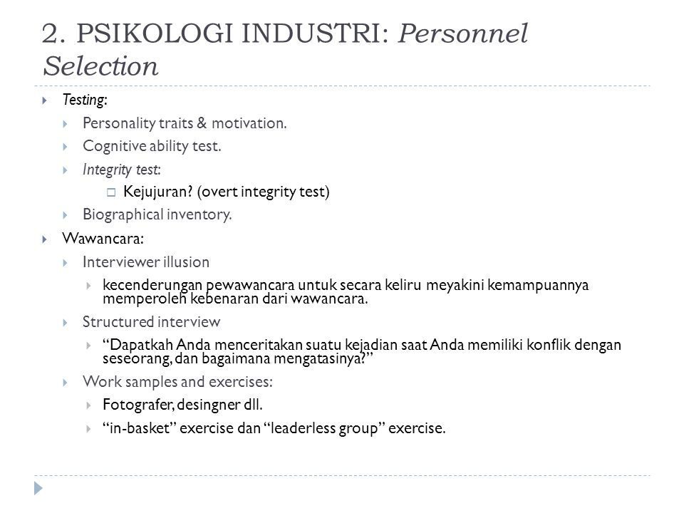 2. PSIKOLOGI INDUSTRI: Personnel Selection