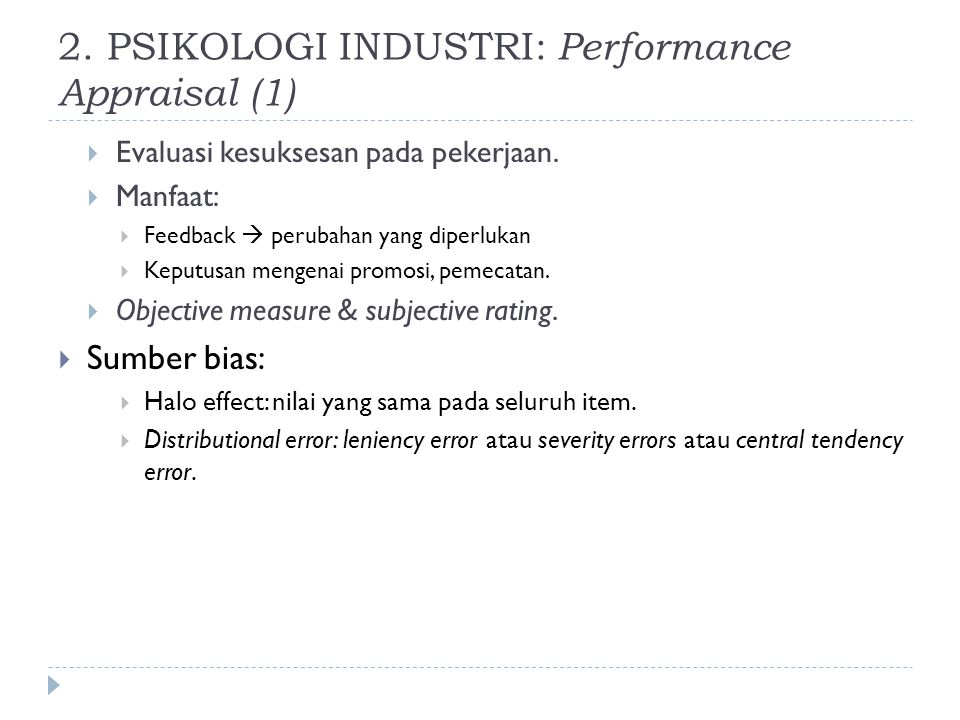 2. PSIKOLOGI INDUSTRI: Performance Appraisal (1)