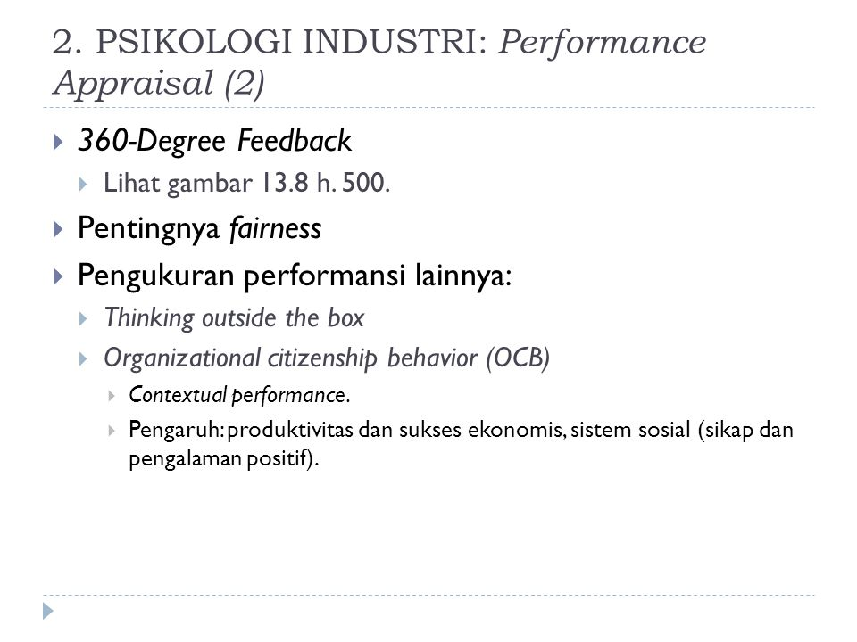 2. PSIKOLOGI INDUSTRI: Performance Appraisal (2)