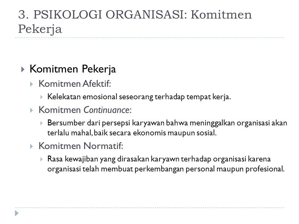 3. PSIKOLOGI ORGANISASI: Komitmen Pekerja