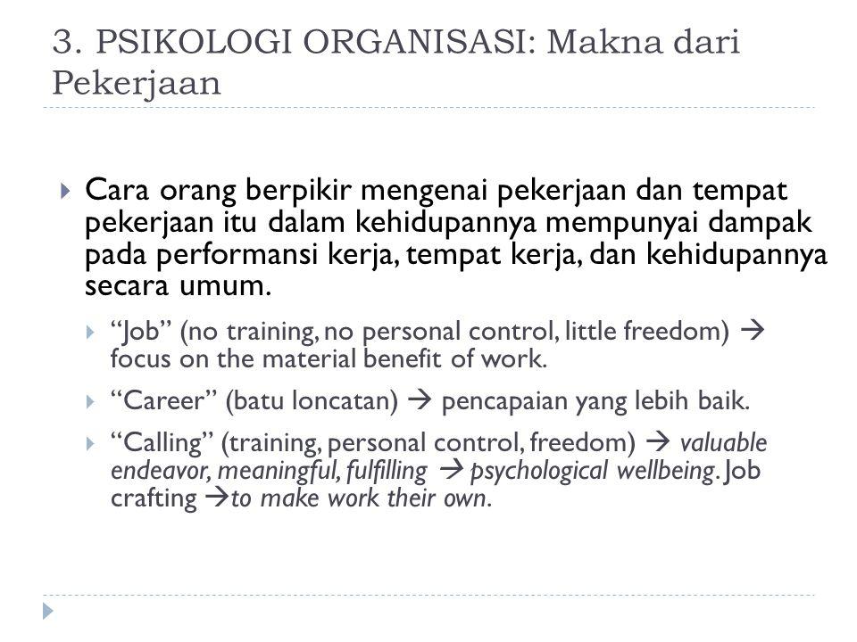 3. PSIKOLOGI ORGANISASI: Makna dari Pekerjaan