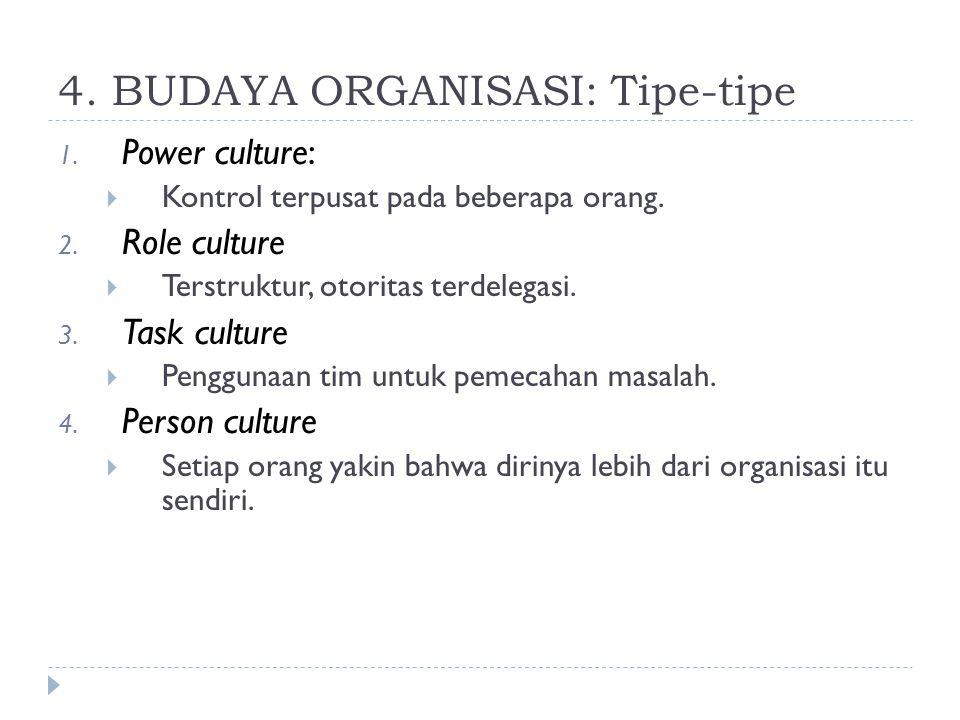 4. BUDAYA ORGANISASI: Tipe-tipe