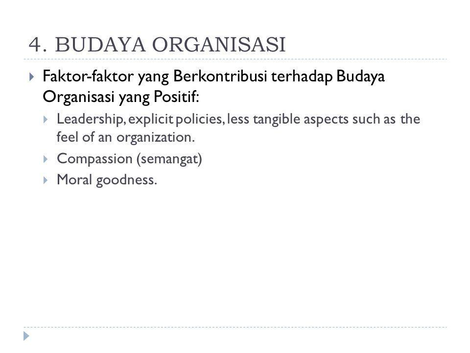 4. BUDAYA ORGANISASI Faktor-faktor yang Berkontribusi terhadap Budaya Organisasi yang Positif: