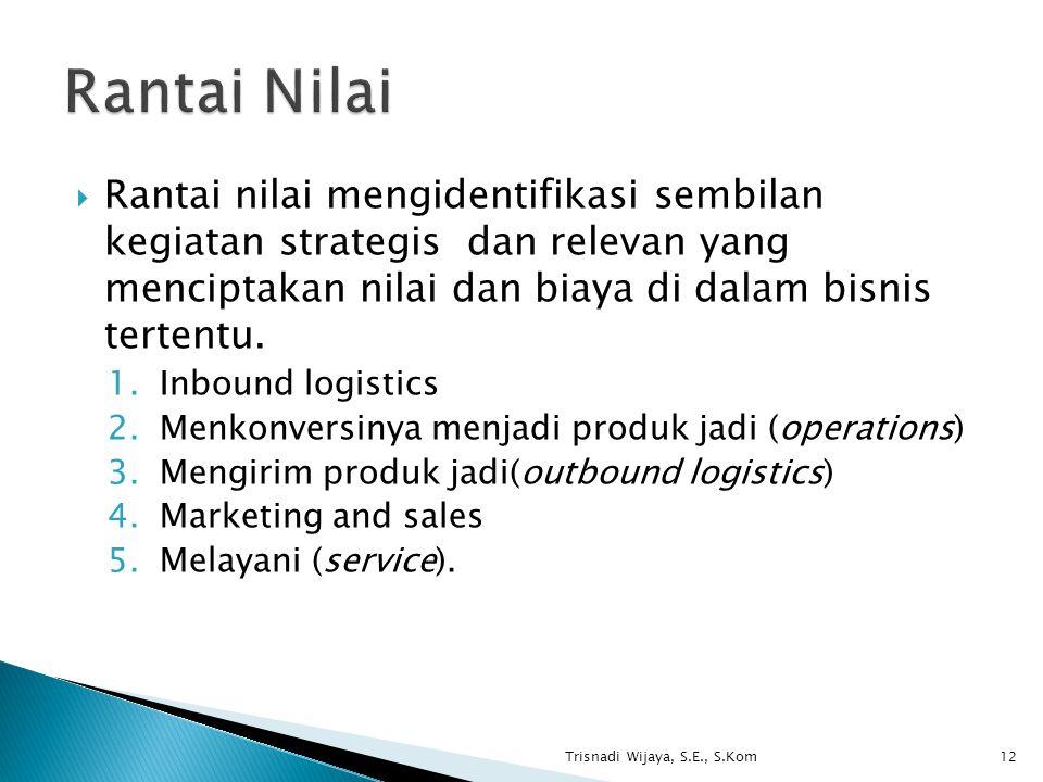 Rantai Nilai Rantai nilai mengidentifikasi sembilan kegiatan strategis dan relevan yang menciptakan nilai dan biaya di dalam bisnis tertentu.