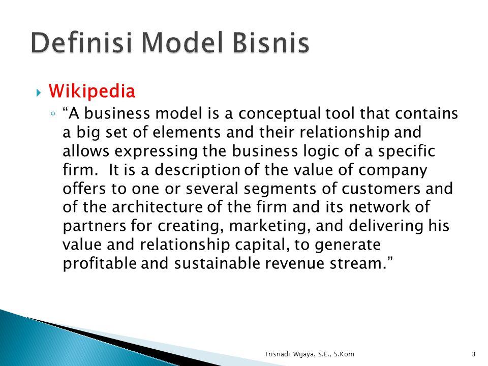 Definisi Model Bisnis Wikipedia
