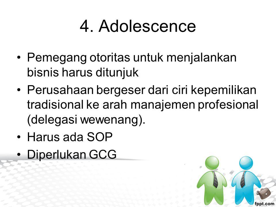 4. Adolescence Pemegang otoritas untuk menjalankan bisnis harus ditunjuk.