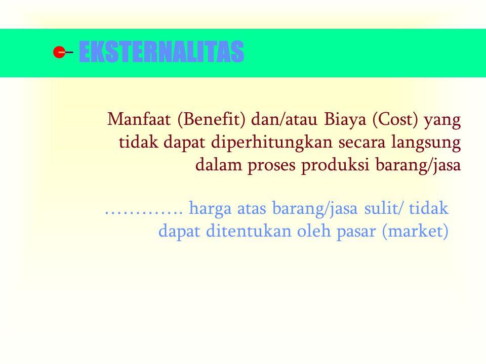 EKSTERNALITAS Manfaat (Benefit) dan/atau Biaya (Cost) yang tidak dapat diperhitungkan secara langsung dalam proses produksi barang/jasa.