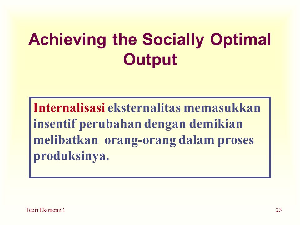 Achieving the Socially Optimal Output
