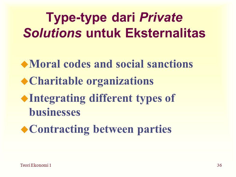 Type-type dari Private Solutions untuk Eksternalitas